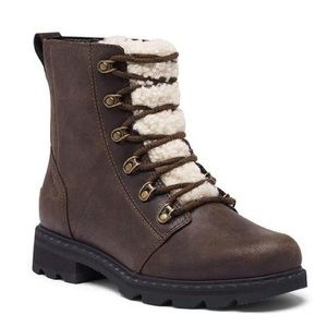 Sorel Lennox Lace-Up Boot with Shearling Trim sz 7